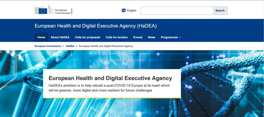 Screenshot of HaDEA website